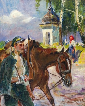Wojciech KOSSAK (1856-1942), Ranny legionista, 1921