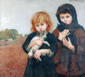 Wlastimil HOFMAN (1881-1970), Dziewczynki z kotami, 1917