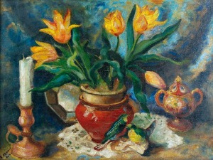 Stanisław PRAUSS (1902-1967), Martwa natura z kwiatami i świecą, 1942