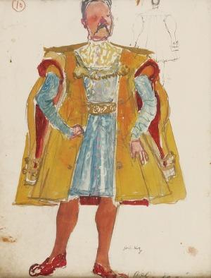 Otto AXER (1906-1983), Projekt kostiumu - Złoty kontusz