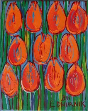 Edward Dwurnik, Pomarańczowe tulipany (2017)