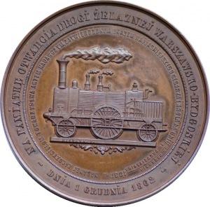 Medal - Otwarcie Drogi Żelaznej Warszawsko-Bydgoskiej 1862 - medal autorstwa Michaux