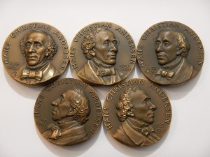 DANIA - Hans Christian Andersen 1875 -1975 - zestaw 5 medali -