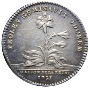 FRANCJA - Maria Leszczyńska - żeton 1731 sygnowany DU VIVIER F