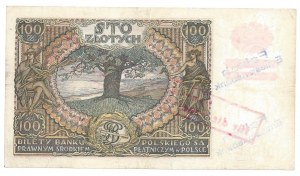 100 złotych 1934 - BJ - fałszywy nadruk - dodatkowo stempel Falsch Emissionsbank