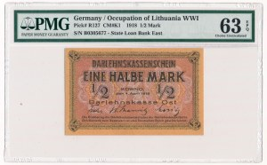 Kowno 1/2 marki 1918 -B- PMG 63 EPQ
