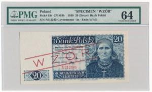 20 złotych 1939 WZÓR - PMG 64
