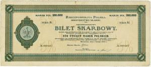 Bilet Skarbowy 100.000 marek 1923 Serja IV