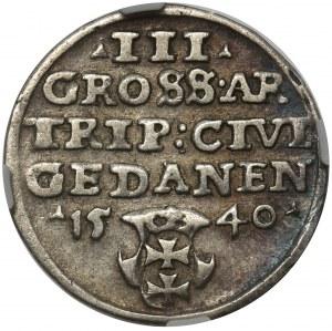 Zygmunt I Stary, Trojak Gdańsk 1540 NGC XF45