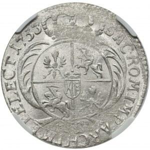 August III Sas, Dwuzłotówka Lipsk 1753 - duża głowa