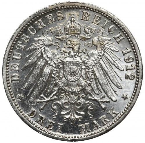 Niemcy, Wirtembergia 3 marki 1912 F Stuttgart