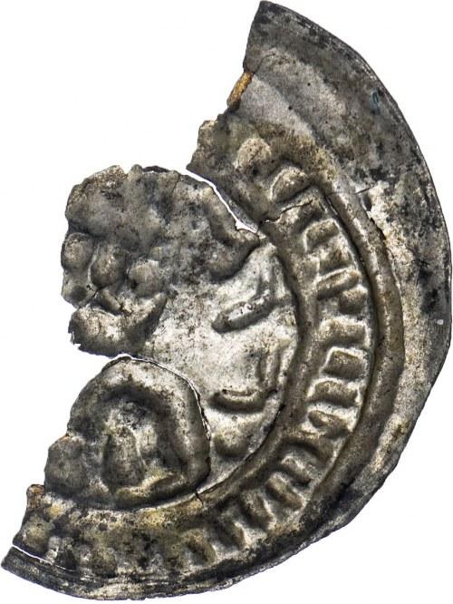 """Mieszko III (1138-1202), brakteat """"hebrajski"""", połówka monety."""
