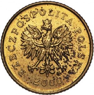 III RP, 1 grosz, 2000, odwrotka 180 stopni.