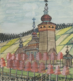 Nikifor KRYNICKI (1895-1968), Kościółek wśród pól