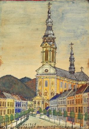 Nikifor KRYNICKI (1895-1968), Uliczka z kościołem
