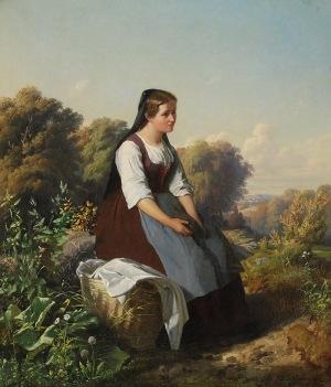 Tadeusz AJDUKIEWICZ (1852-1916), Dziewczyna z koszem, 1875