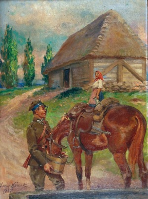 Jerzy KOSSAK (1886-1955), Ułan i dziewczyna, 1940