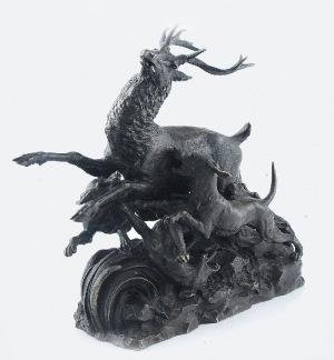 Jules-Pierre MENE (1810-1879), Jeleń atakowany przez psy