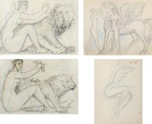 Tadeusz GRONOWSKI (1894-1990), Zestaw 4 rysunków