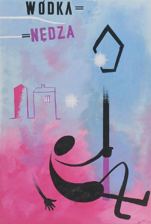 Tadeusz GRONOWSKI (1894-1990), Wódka = Nędza - projekt plakatu, 1963
