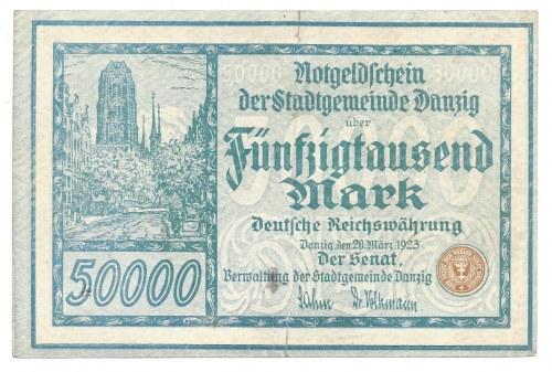 Gdańsk - Danzig - 50 000 marek 1923 - ilustrowany w katalogu Czesława Miłczaka