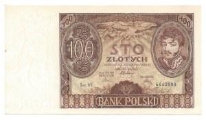 100 złotych 1934 - AV - dodatkowy znak wodny dwie kreski na dolnym marginesie -