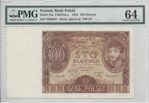 100 złotych 1934 - CB - PMG 64 -