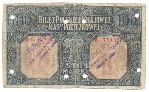 100 marek 1916 - generał - fałszerstwo - wyłapany - ostemplowany
