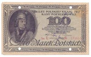 100 marek 1919 - U - fałszerstwo - wyłapany - ostemplowany - ze znakami wodnymi