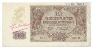 10 złotych 1940 - L - fałszerstwo - adnotacje na marginesie L.Dz 2659 Eksp / 48