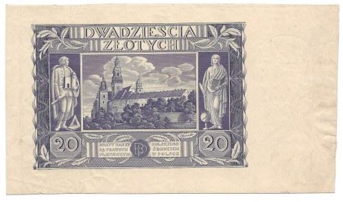 20 złotych 1936 - destrukt - brak druku strony głównej -
