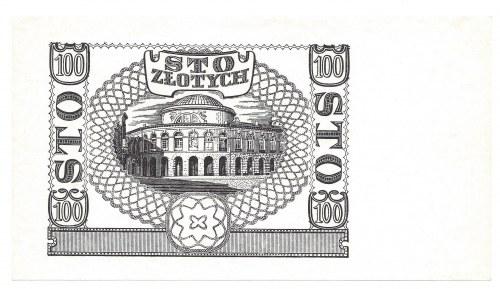 Czarnodruk rewersu 100 złotych 1940 - bez serii oraz numeracji -