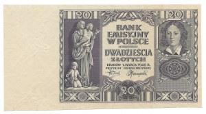20 złotych 1940- destrukt - bez serii i numeracji oraz poddruku -