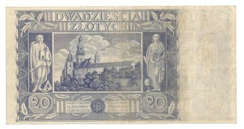 20 złotych 1940 - podwójny druk rewersu -