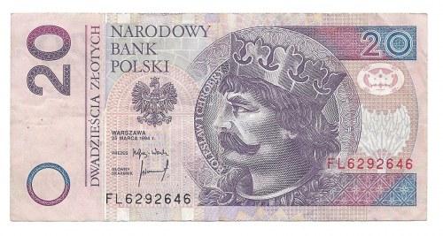20 złotych 1994 - FL - destrukt - awers na rewersie -