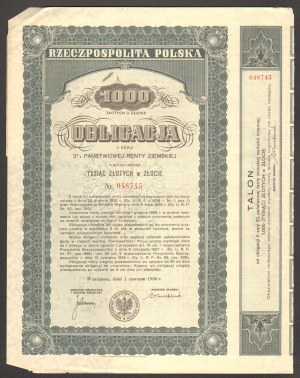 Obligacja 3% państwowej renty ziemskiej - 1000 złotych w złocie 1936 -