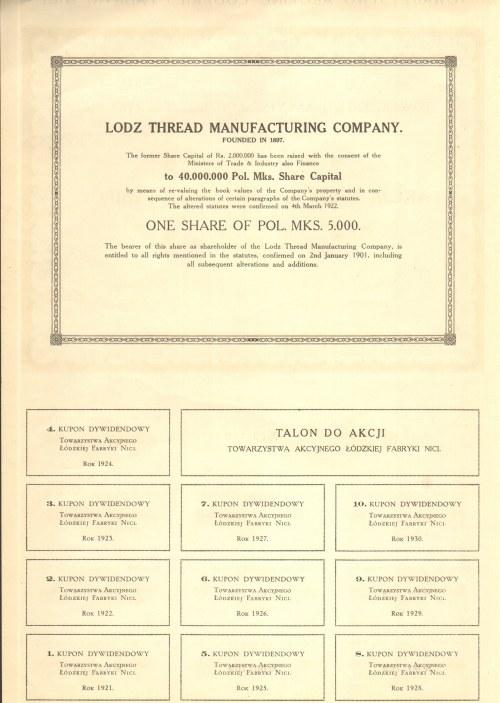Towarzystwo Akcyjne Łódzkiej Fabryki Nici - 1 x 5000 marek 1922 -
