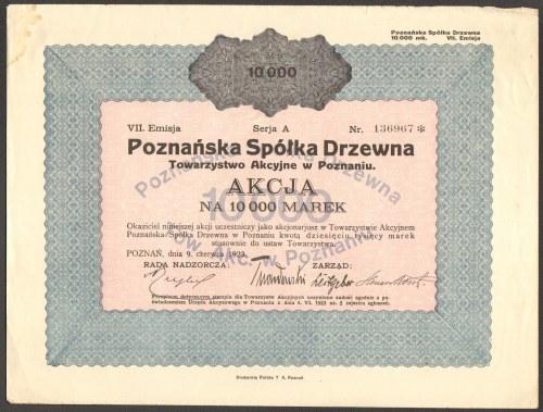 Poznańska Spółka Drzewna TA w Poznaniu - 10 000 mk 1923 - Em. 7 -