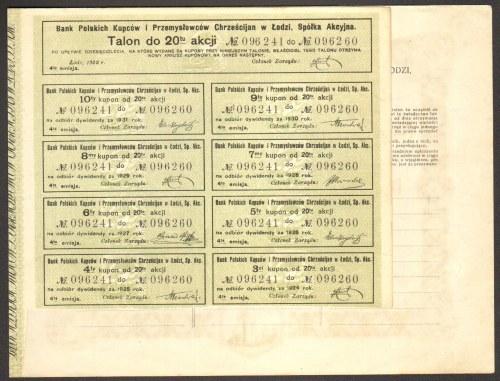 Bank Polskich Kupców i Przemysłowców Chrześcijan w Łodzi - 20 x 500 marek 1922 - Imienna