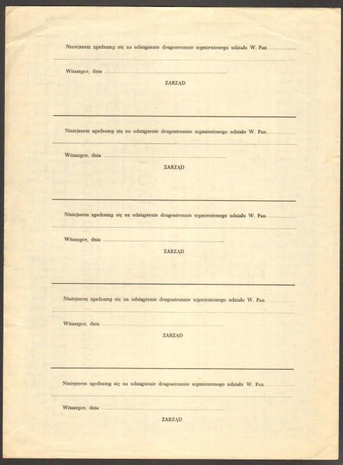 Zjednoczone Cukrownie Witaszyce-Zduny - udział w wysokości 1100 złotych 1936