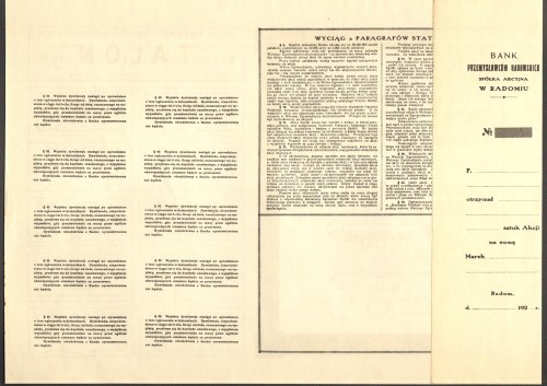 Bank Przemysłowców Radomskich - 1000 marek polskich 1922 - bez numeru z grzbietem