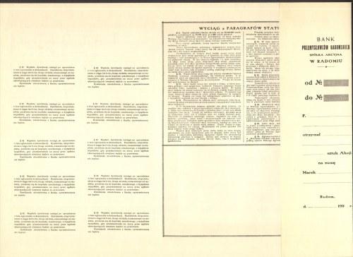 Bank Przemysłowców Radomskich - 10 x 1000 marek polskich 1922 - bez numeru z grzbietem