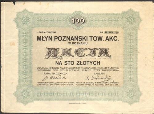 Młyn Poznański Towarzystwo Akcyjne w Poznaniu - 100 złotych - RZADKA