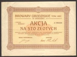 Browary Grodziskie Towarzystw Akcyjne w Grodzisku - 100 złotych - RZADKA