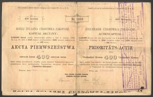 Kolej Żelazna Chabówka - Zakopane - 400 koron 1898 - RZADKI PAPIER