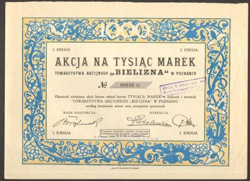Towarzystwo Akcyjne BIELIZNA w Poznaniu - 1000 marek -