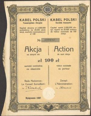 Kabel Polski Towarzystwo Akcyjne Bydgoszcz - 100 złotych 1927 -