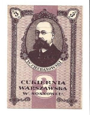 Kwit 3 kopiejki 1917 - Cukiernia Warszawska w Sosnowcu -