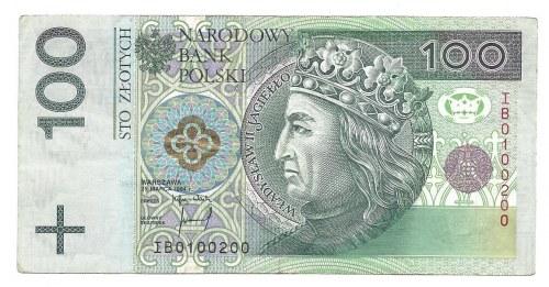 100 złotych 1994 - IB - 0100200 - bardzo ciekawa numeracja