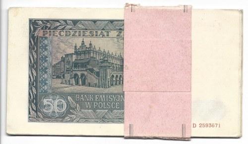 50 złotych 1941 - D - pełna paczka bankowa 20 sztuk -